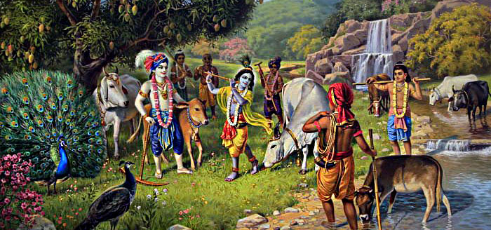lord krishna with friends and cows