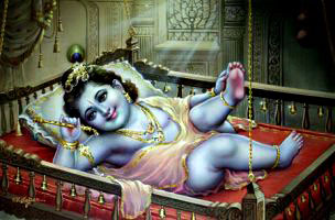 baby lord krishna sleeping
